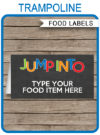 Trampoline Theme Food Labels template | Place Cards | Printable Birthday Party Decorations | DIY Editable template | INSTANT DOWNLOAD via simonemadeit.com