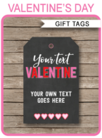 Valentine's Day Gift Tags Template | editable & printable | Happy Valentine's Day | INSTANT DOWNLOAD $3.00 via simonemadeit.com