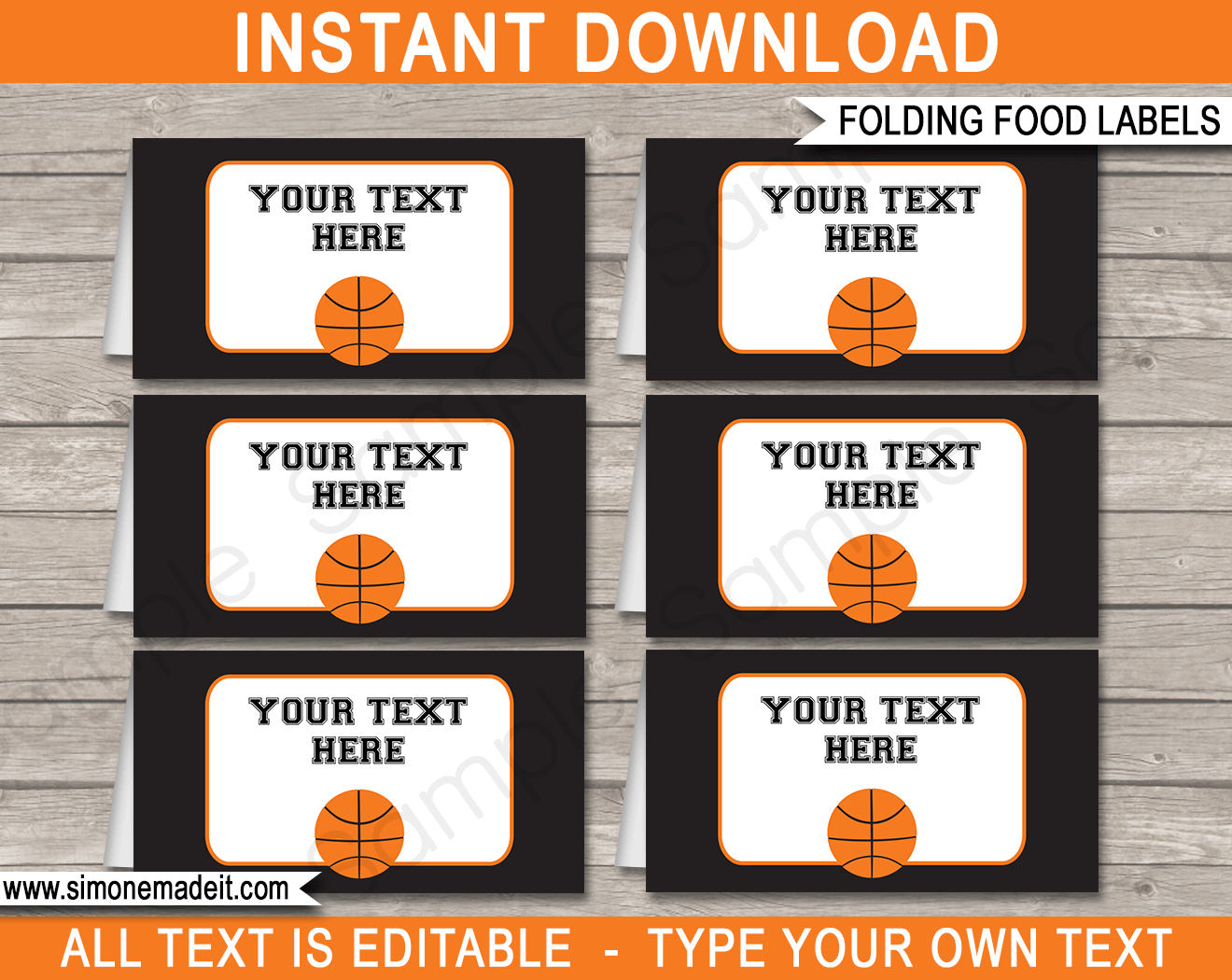 Basketball Party Food Labels | Food Buffet Cards | Place Cards |Printable Party Decorations | DIY Editable template | $3.00 Instant Download via simonemadeit.com