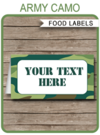 Army Camo Food Labels template – green