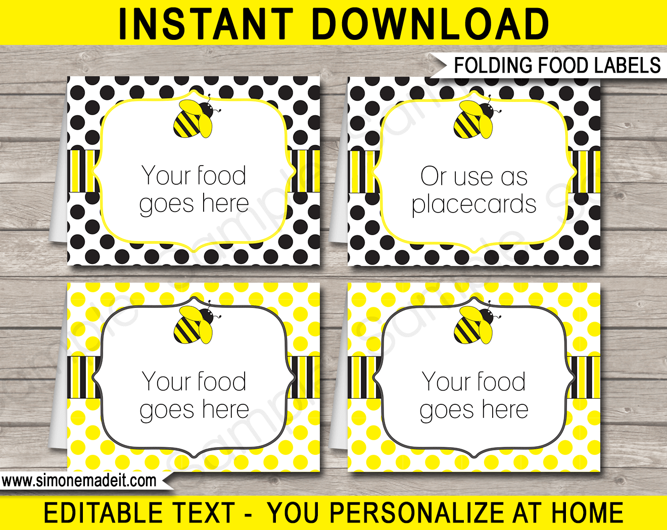 Bee Party Food Labels Template