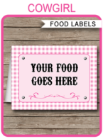 Cowgirl Party Food Labels template