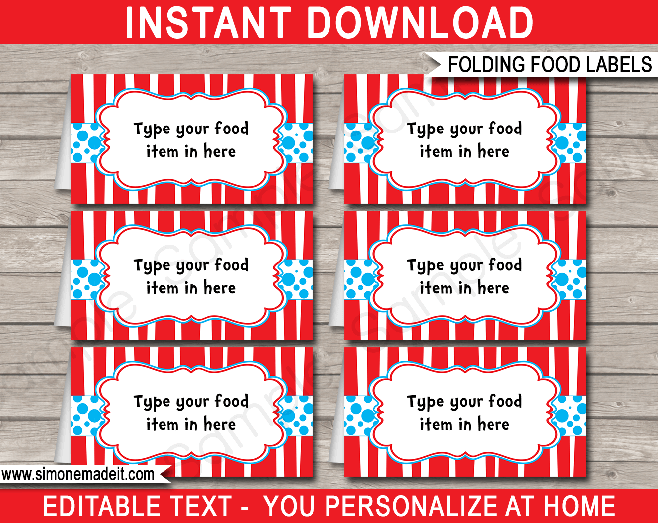 Dr Seuss Party Food Labels template  sc 1 st  SIMONEmadeit Party Printables & Dr Seuss Party Food Labels | Place Cards | Dr Seuss Theme Party