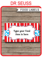 Dr Seuss Party Food Labels template
