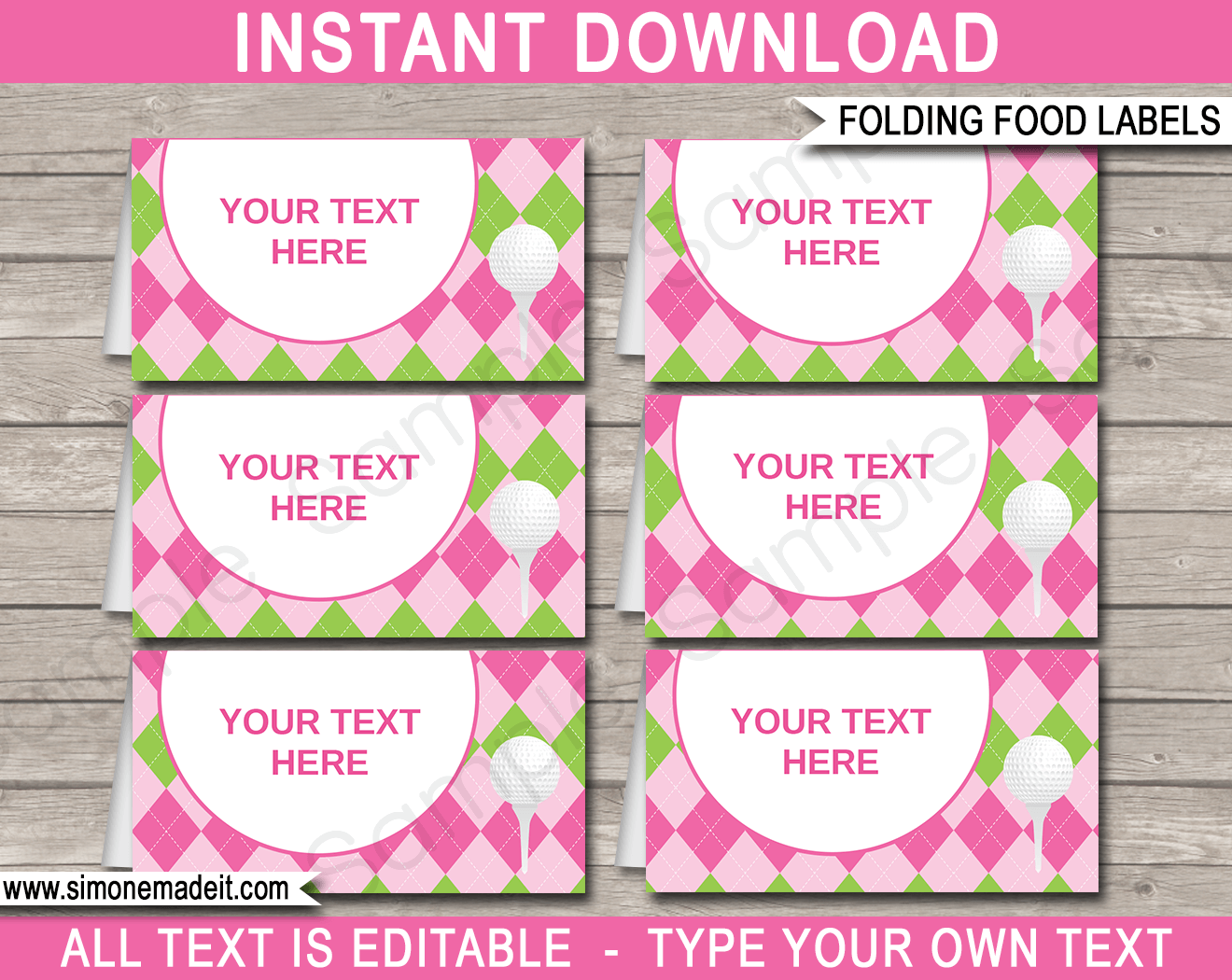 Printable Golf Theme Food Labels