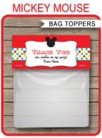 Mickey Mouse Party Favor Bag Toppers template
