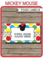 Mickey Mouse Party Food Labels | Food Buffet Tags | Place Cards | Mickey Mouse Clubhouse Theme Birthday Party | Editable DIY Template | Instant Download via SIMONEmadeit.com