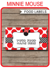 Red Minnie Mouse Theme Food Labels | Food Buffet Tags | Place Cards | Minnie Mouse Birthday Party | Editable DIY Template | Instant Download via SIMONEmadeit.com