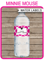 Minnie Mouse Party Water Bottle Labels template – pink