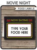Movie Party Food Labels template