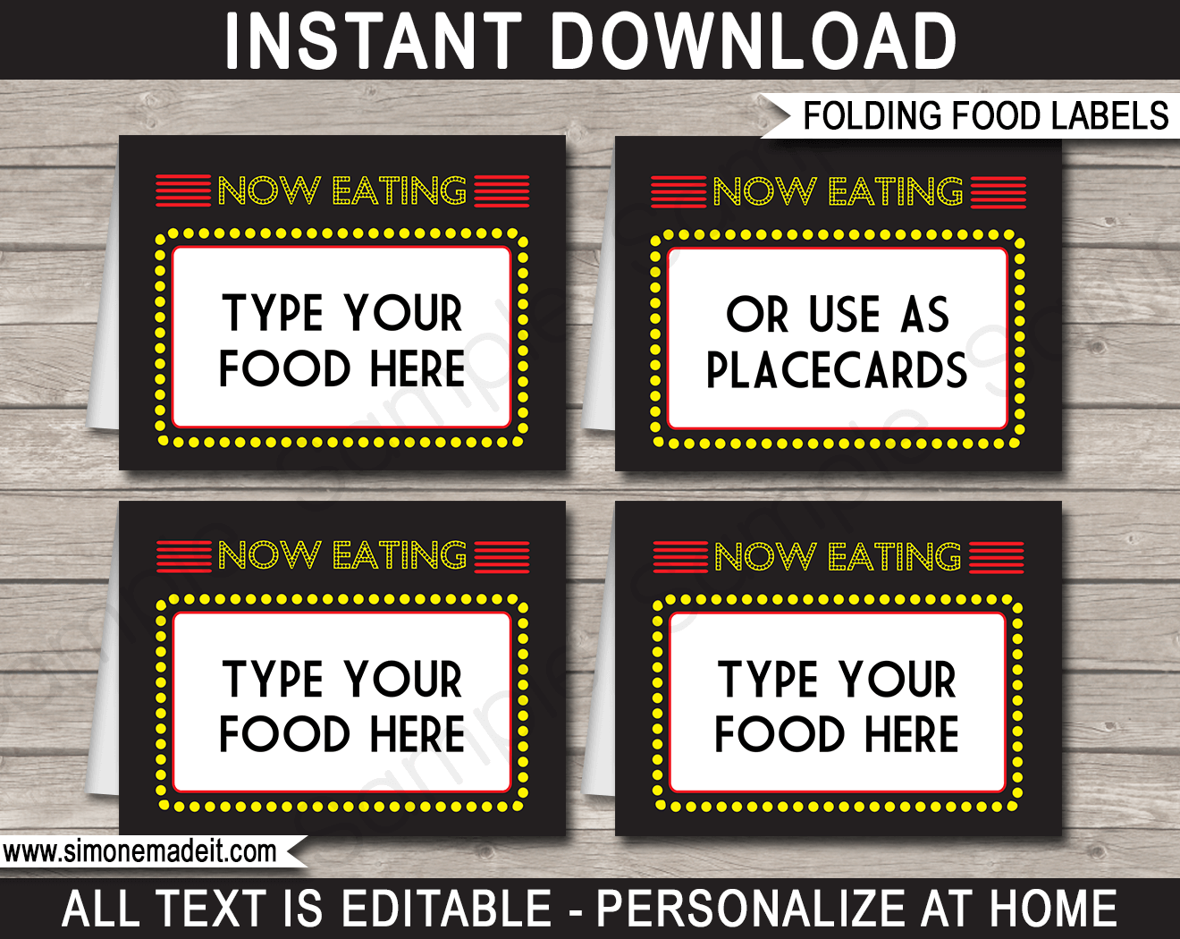 Movie Party Food Labels template  sc 1 st  SIMONEmadeit & Printable Movie Party Food Labels | Place Cards | Movie Night Theme