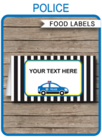 Police Party Food Labels template – police car