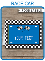 Blue Race Car Theme Food Labels | Food Buffet Tags | Place Cards | Race Car Birthday Party | Editable DIY Template | Instant Download via SIMONEmadeit.com