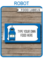 Robot Party Food Labels template