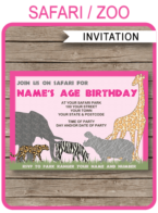 Safari Party Invitations Template- pink