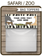 Safari Party Favor Bag Toppers template