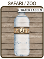 Safari Party Water Bottle Labels template