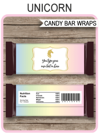 Unicorn Candy Bar Wrappers template