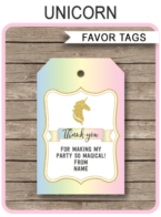 Unicorn Favor Tags Template