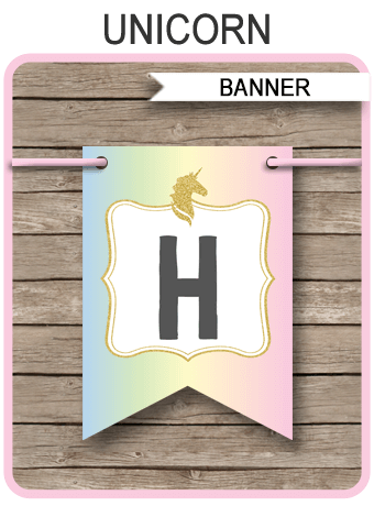 Unicorn Banner Template | Unicorn Theme Happy Birthday Pennant Banner | Custom Banner | DIY Editable & Printable Template | Instant Download via simonemadeit.com