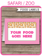 Safari Party Food Labels template – pink