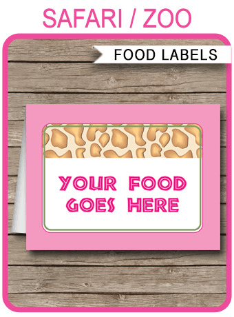 Girls Safari Theme Food Labels Place Cards Printable