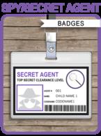 Girls Secret Agent Badge Template | Spy Girls Badge | ID Card | Birthday Party | DIY Editable & Printable | INSTANT DOWNLOAD $3.50 via SIMONEmadeit.com