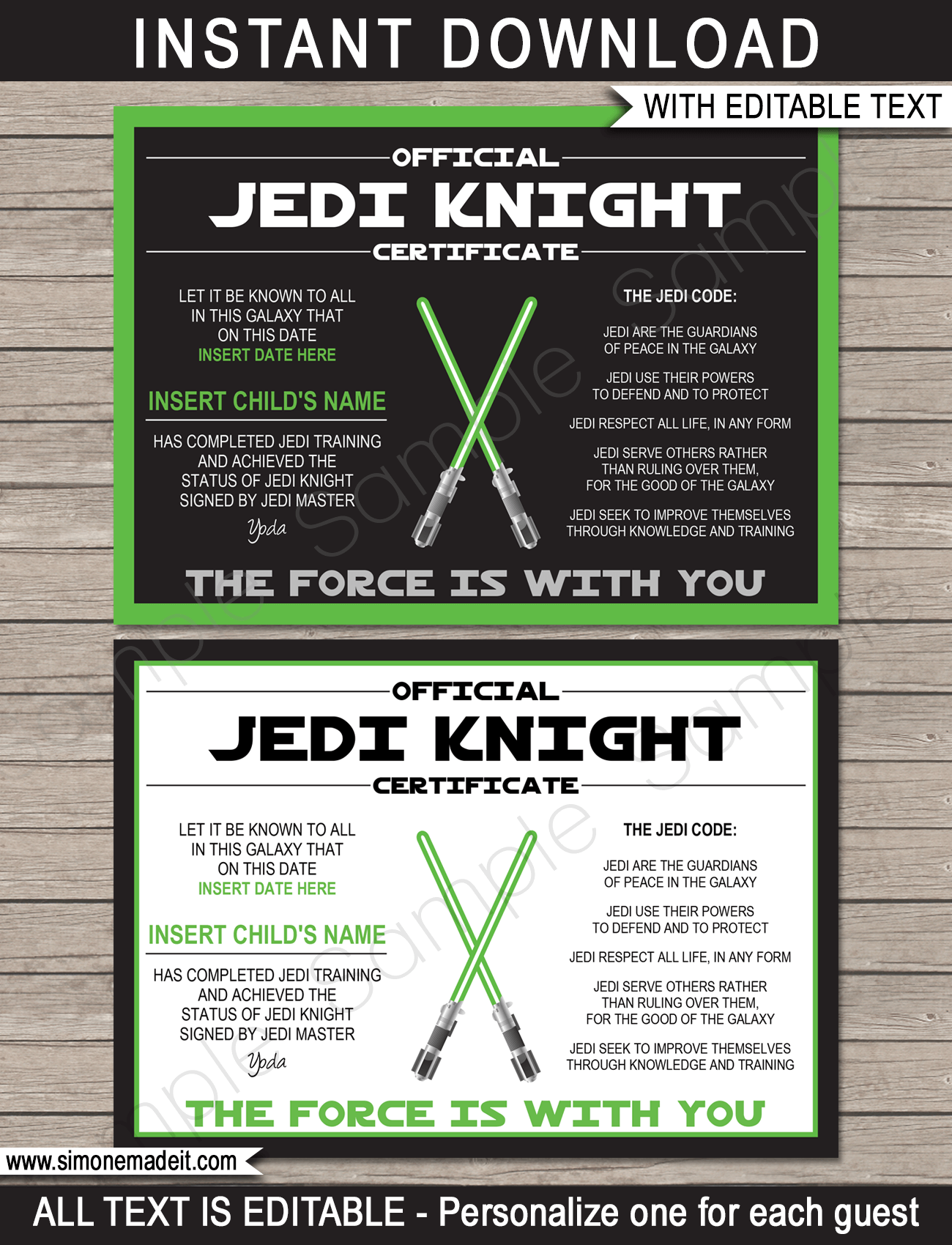 Star wars jedi certificates star wars party favors for Jedi certificate template free