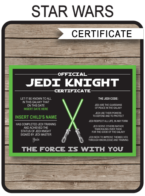 Star Wars Jedi Certificates template