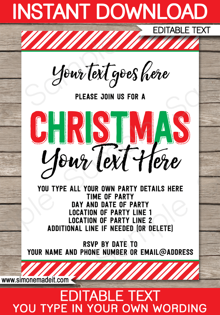 printable christmas party invitations template christmas party invites 5x7 inches editable text