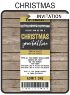 Gold Christmas Party Ticket Invitations | Printable Christmas Ticket Invites | Chalkboard & Gold Glitter | Editable Template | INSTANT DOWNLOAD via simonemadeit.com