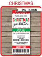 Printable Christmas Party Ticket Invitations | Christmas Ticket Invites | Editable Template | INSTANT DOWNLOAD via simonemadeit.com