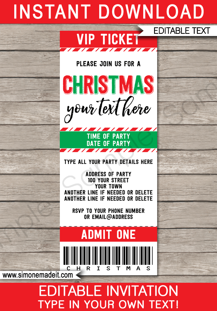 Christmas Party Ticket Invitations | Printable Christmas Ticket Invites | Editable Template | INSTANT DOWNLOAD via simonemadeit.com