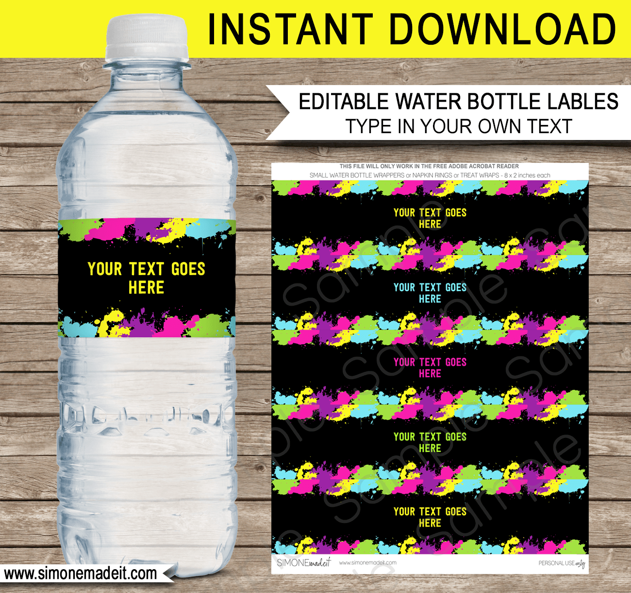 Neon Glow Party Water Bottle Labels | Neon Glow Theme Birthday Party Template | Napkin Wraps | Treat Wraps | DIY Editable & Printable Template | INSTANT DOWNLOAD via simonemadeit.com