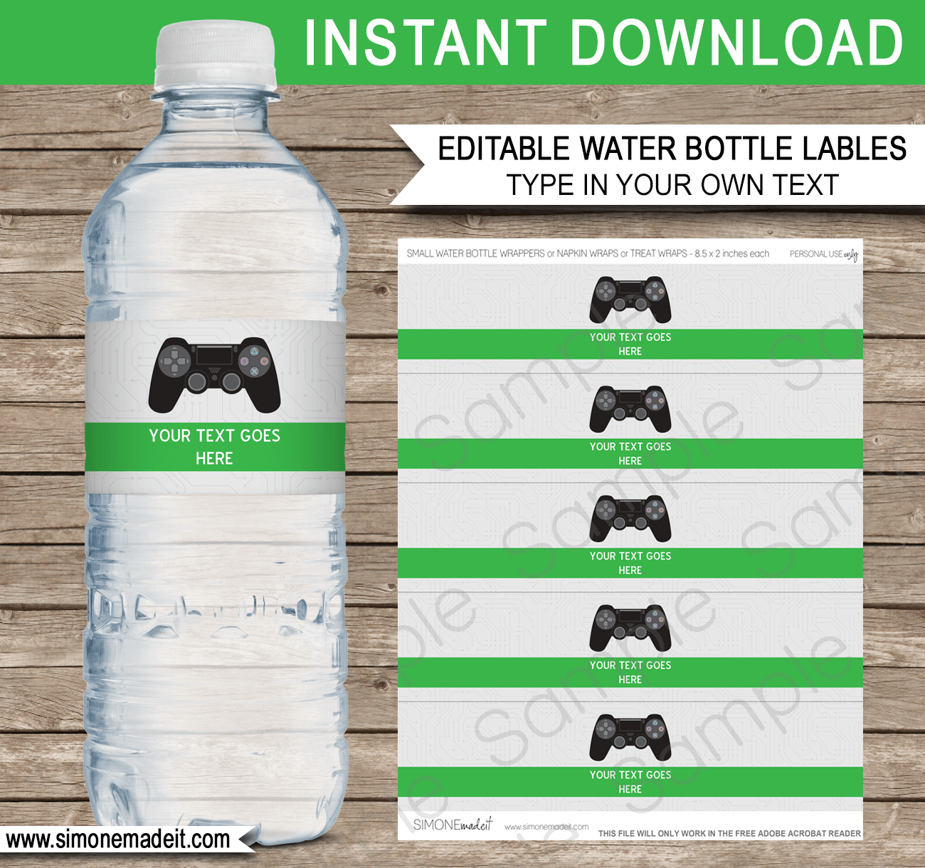 Printable Playstation Party Water Bottle Labels | Video Game Theme Birthday Party Template | Black Playstation Controller | Gamer | Napkin Wraps | Treat Wraps | INSTANT DOWNLOAD via simonemadeit.com