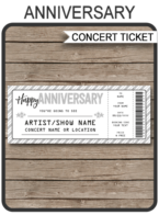 Anniversary Concert Gift Ticket template | Last Minute Surprise Gift | Concert, Show, Performance, Band, Artist, Festival | Happy Anniversary Present | Silver Glitter | DIY Editable & Printable Template | Instant Download via simonemadeit.com