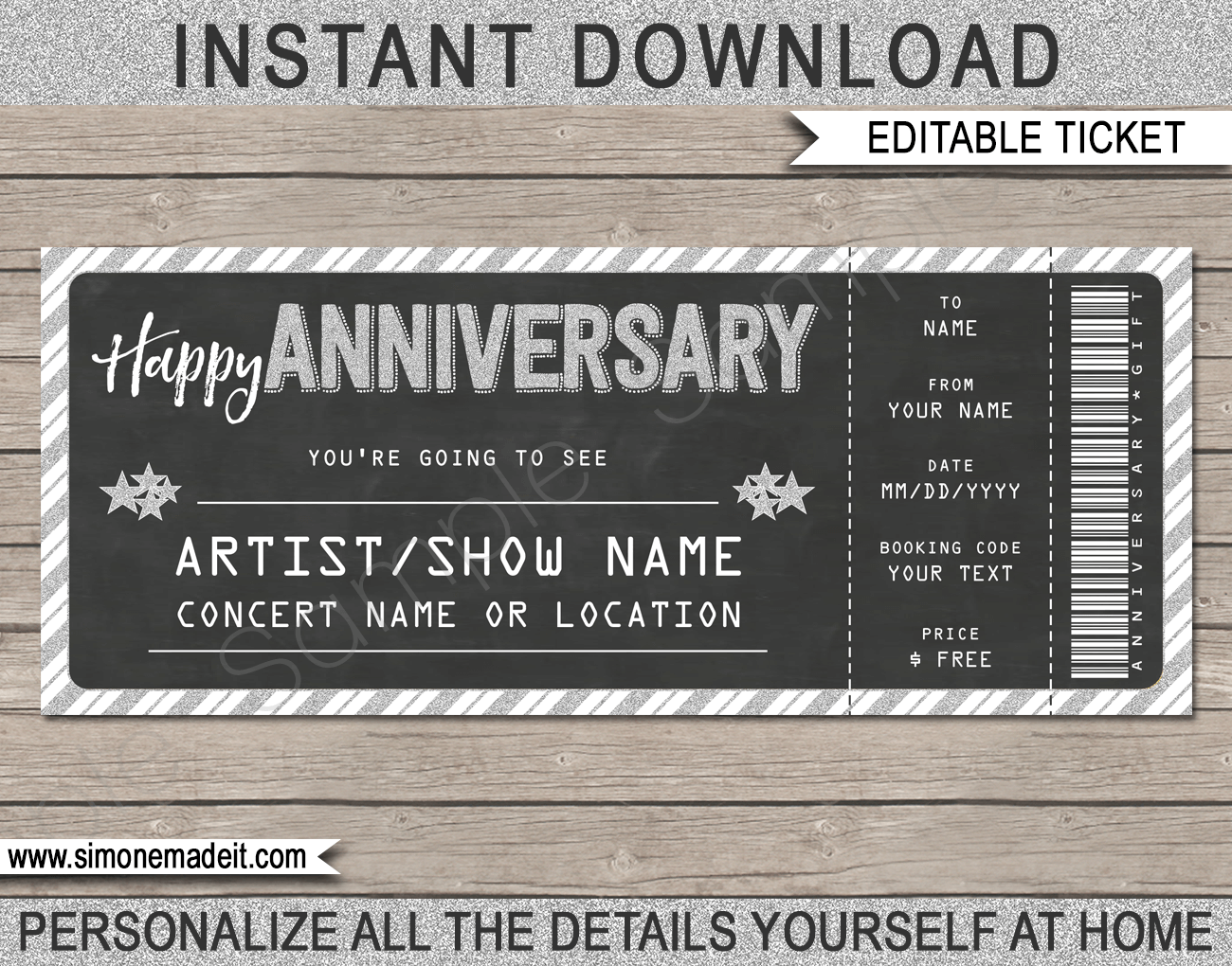 Printable Concert Ticket Anniversary Gift template | Last Minute Surprise Gift | Concert, Show, Performance, Band, Artist, Festival | Happy Anniversary Present | DIY Editable & Printable Template | Instant Download via simonemadeit.com