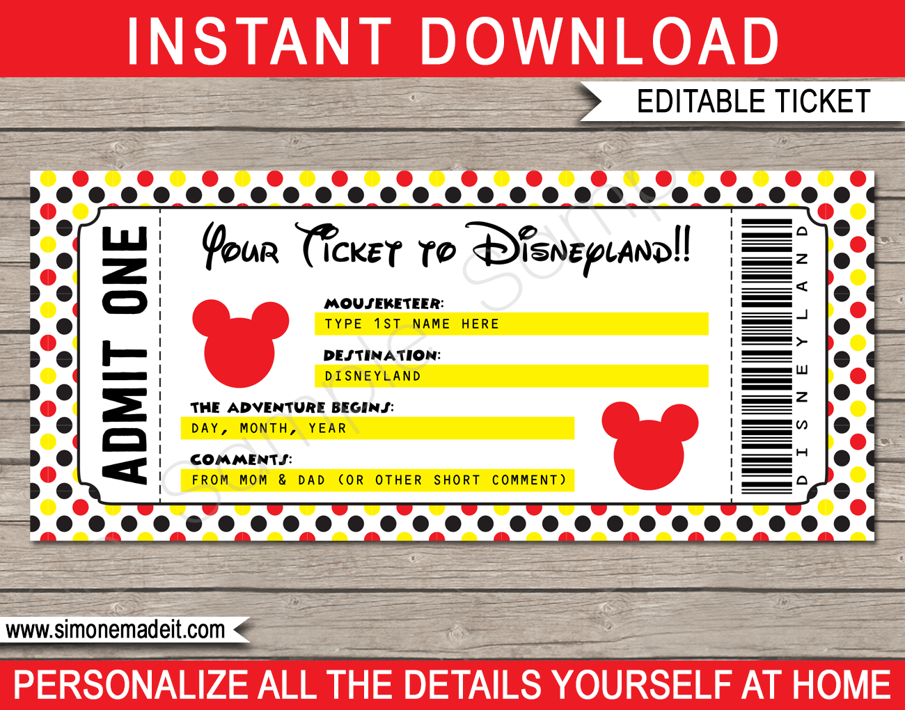 Printable Ticket to Disneyland Surprise Trip to Disneyland