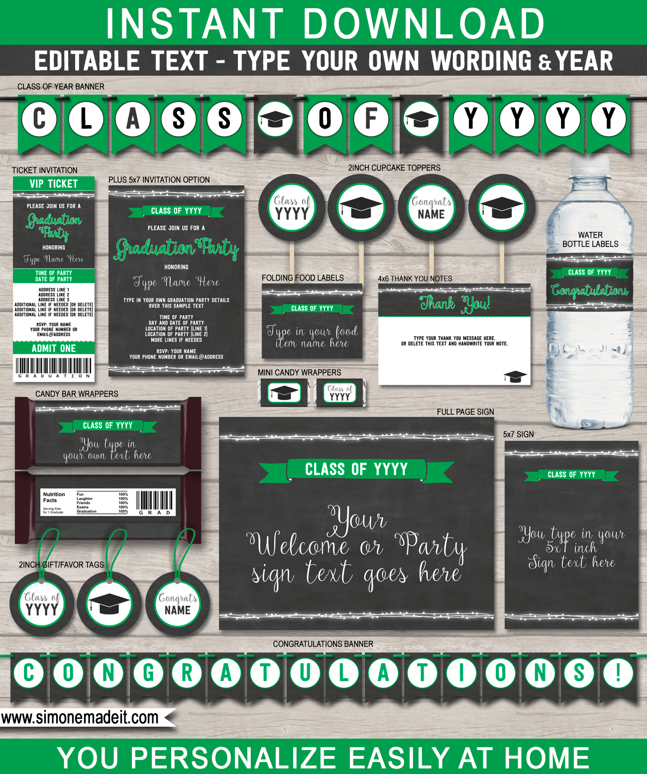 Printable Green Graduation Party Printables, Invitations & Decorations | Chalkboard | Printable High School Graduation Party Decorations | for any year | Editable and Printable DIY Templates | $12.50 INSTANT DOWNLOAD via SIMONEmadeit.com