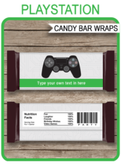 Printable Playstation Party Candy Bar Wrappers | Birthday Party Favors | Playstation | Personalized Candy Bars | Editable Template | INSTANT DOWNLOAD $3.00 via simonemadeit.com