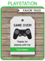 Playstation Party Favor Tags template – green