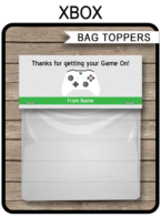 Xbox Party Favor Bag Toppers template