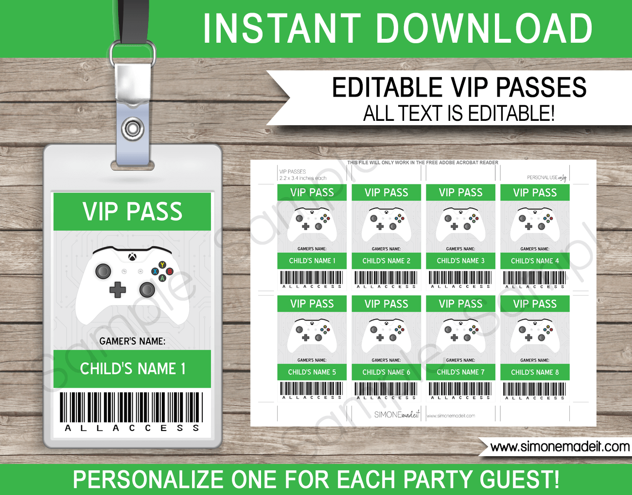 xbox party vip passes video game birthday party printables. Black Bedroom Furniture Sets. Home Design Ideas