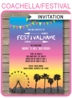 Coachella Party Invitations template – bright colors