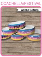 Coachella Party Printable Wristbands | Kidchella, Fauxchella, Music Festival, Fete, Gala, Fair, Carnival | Printable Party Decorations | Coachella Themed Birthday Party | Editable DIY Template | Instant Download via SIMONEmadeit.com