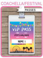 Coachella Party VIP Passes template – bright colors