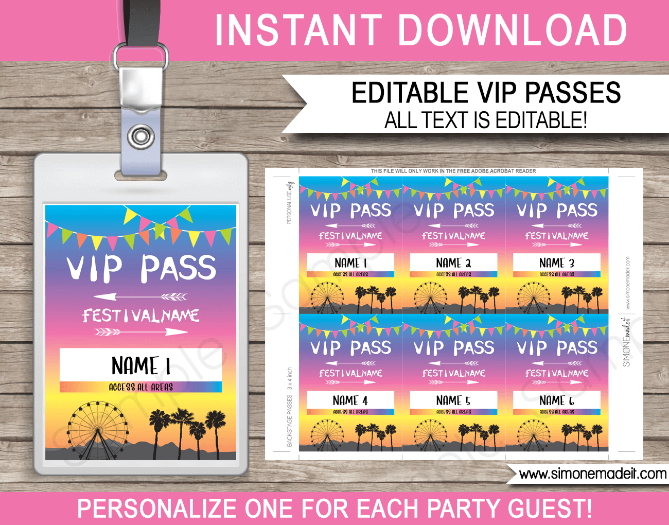 Printable Coachella Party VIP Passes | Festival VIP Pass |  Kidchella, Fauxchella, Coachella Theme | Music Festival, Fete, Gala, Fair, Carnival | Editable & Printable Template | Instant Download via simonemadeit.com