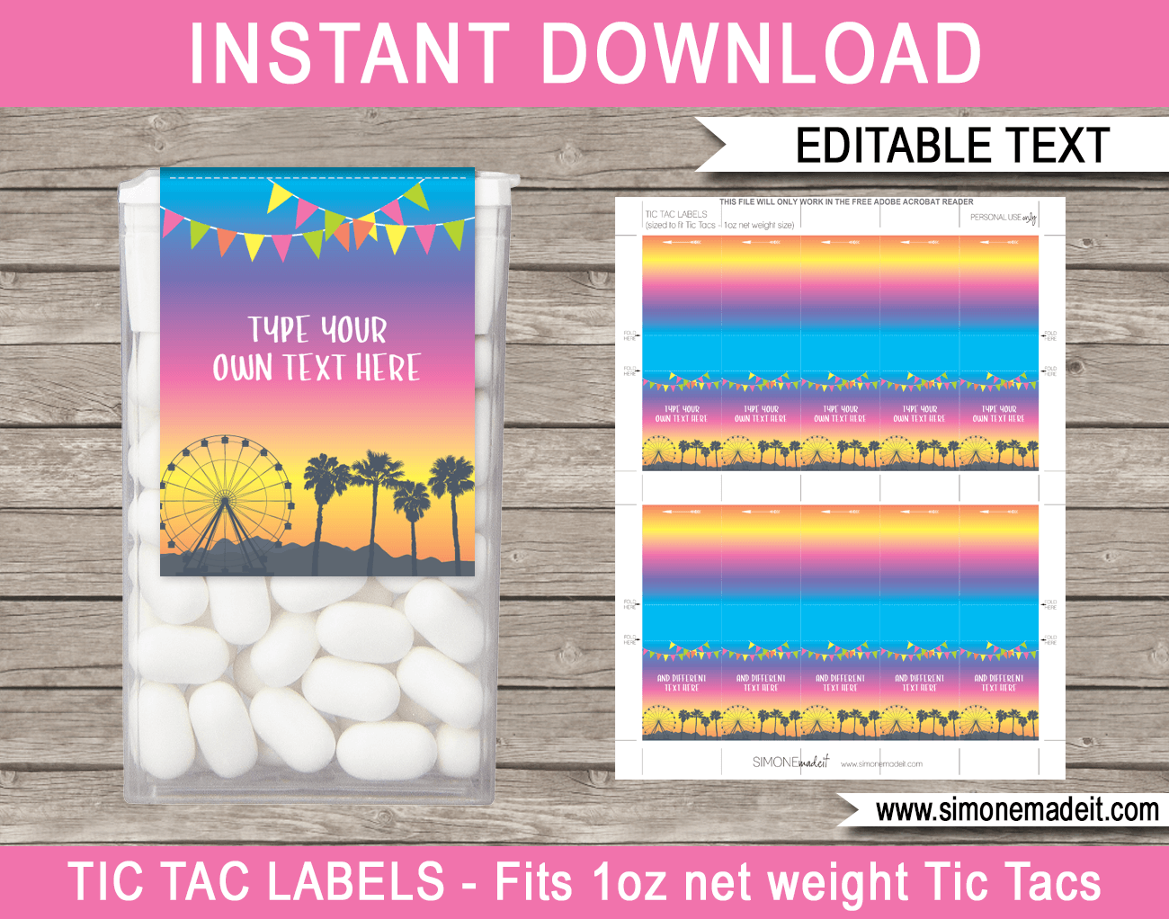 Coachella Party Tic Tac Labels | Coachella Inspired Birthday Party Favors | Editable & Printable Template | Instant Download via simonemadeit.com