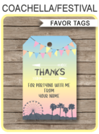 Coachella Themed Party Favor Tags template – pastel colors