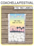Coachella Themed Party Tic Tac Labels | Coachella Birthday Party Favors | Editable & Printable Template | Instant Download via simonemadeit.com